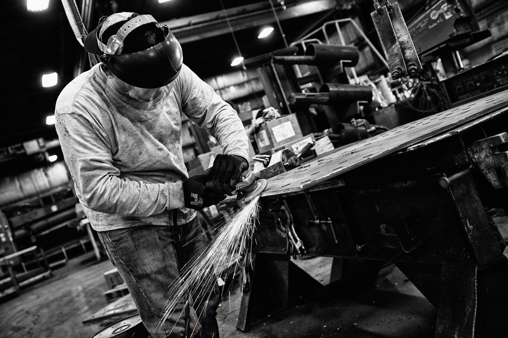 LeJeune Steel/man grinding/manufacturing photography