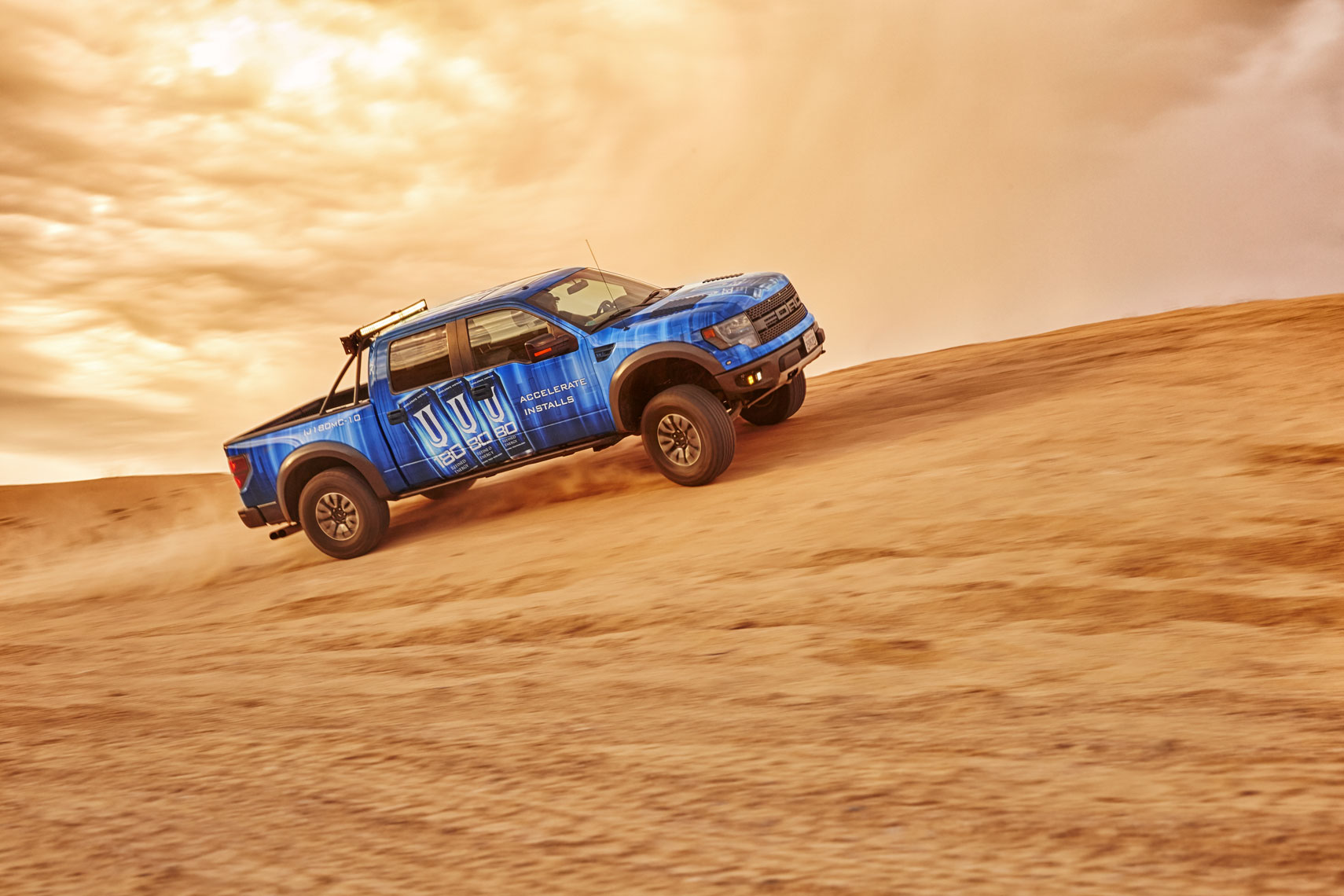 Blue Ford Truck/Las Vegas Dunes/3M Auto Wrap/location photography