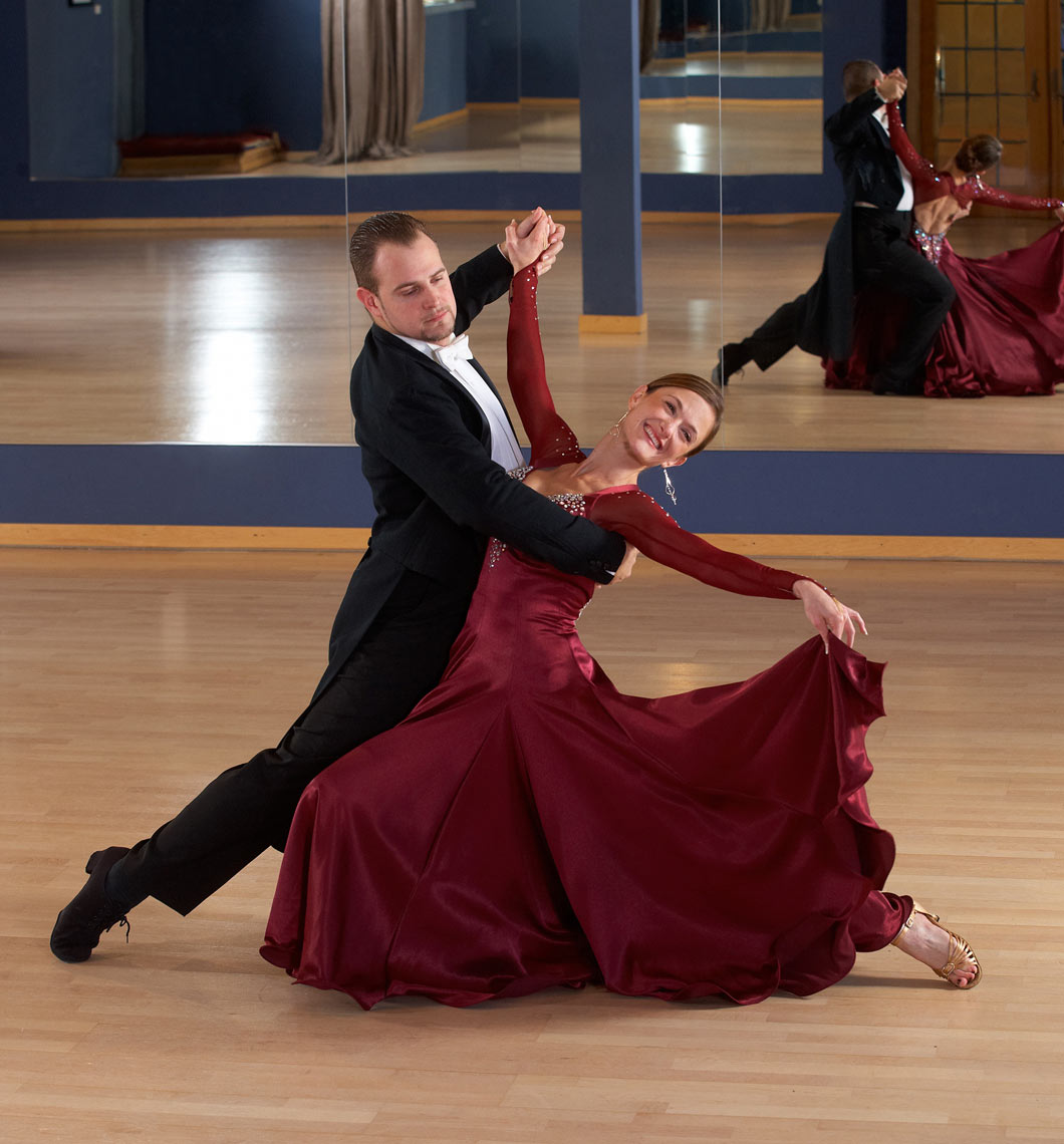 Ballroom dance/two dancers in studio/lifestyle photo