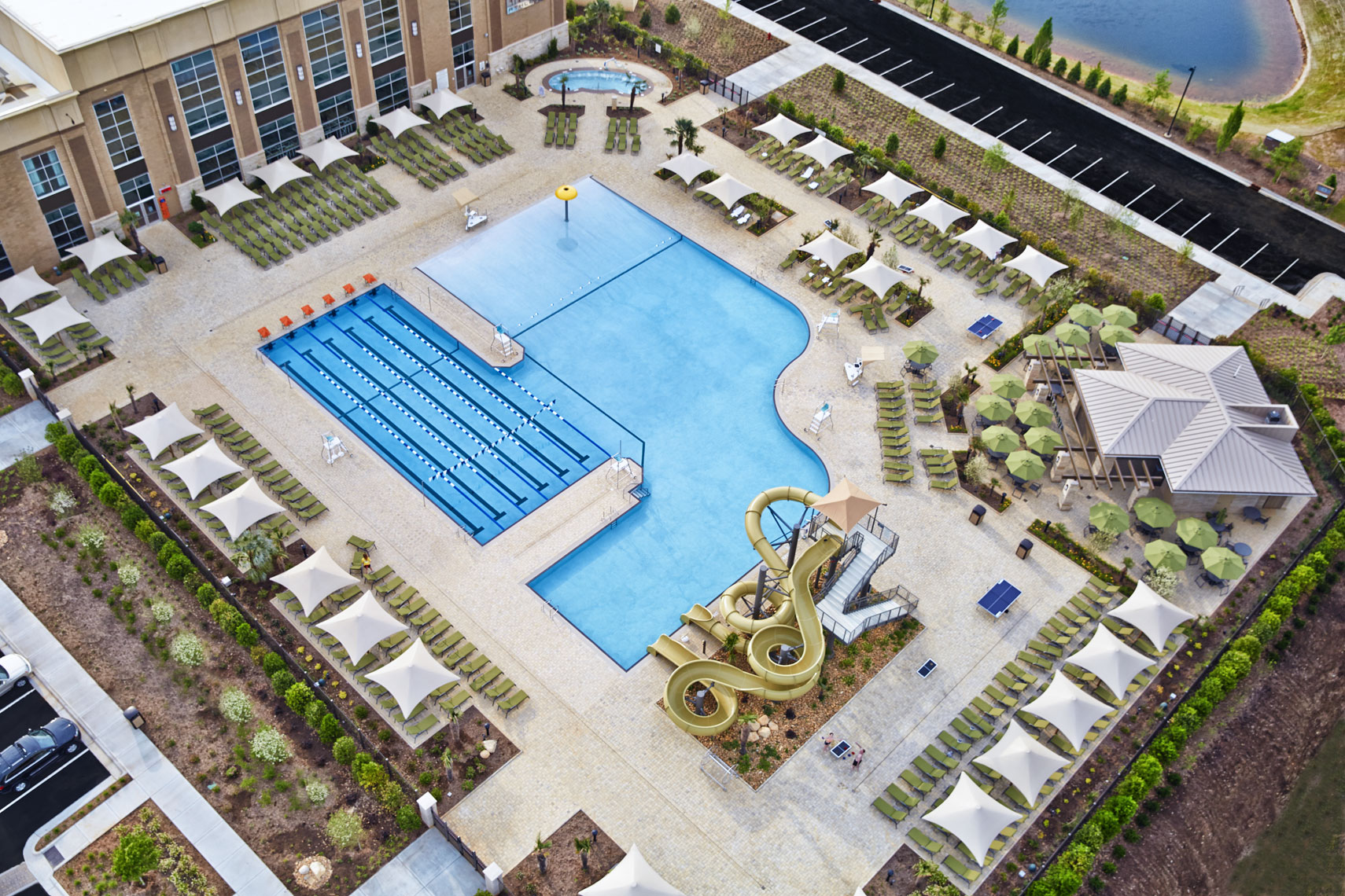 Lifetime Fitness pools/daytime/arial drone photography