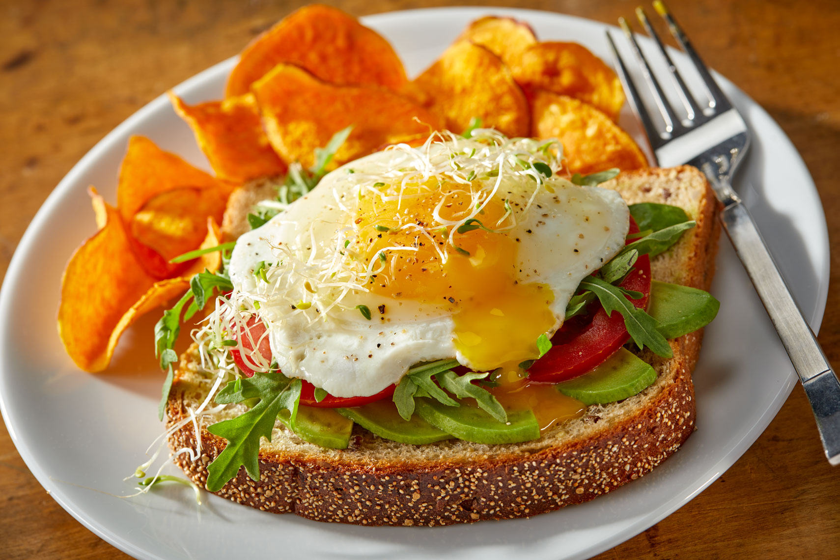 Fried egg sandwich/open facedavocado/food photography