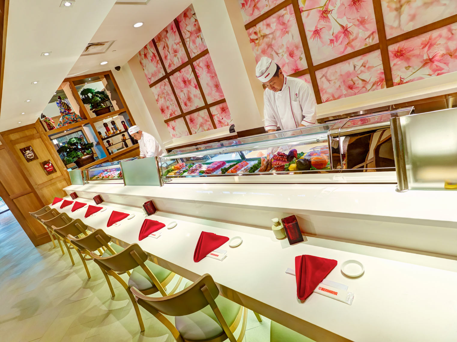 Benihana sushi bar/cooks assemling/counter/architectural photo