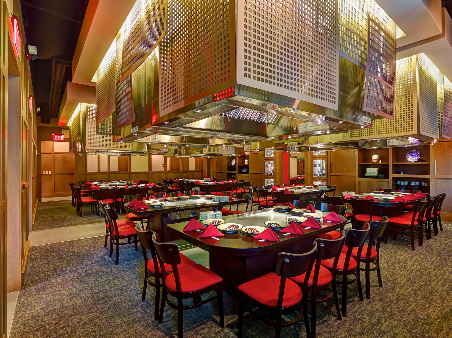 Benihana restaurant interior/silver vent hoods/architectural photo