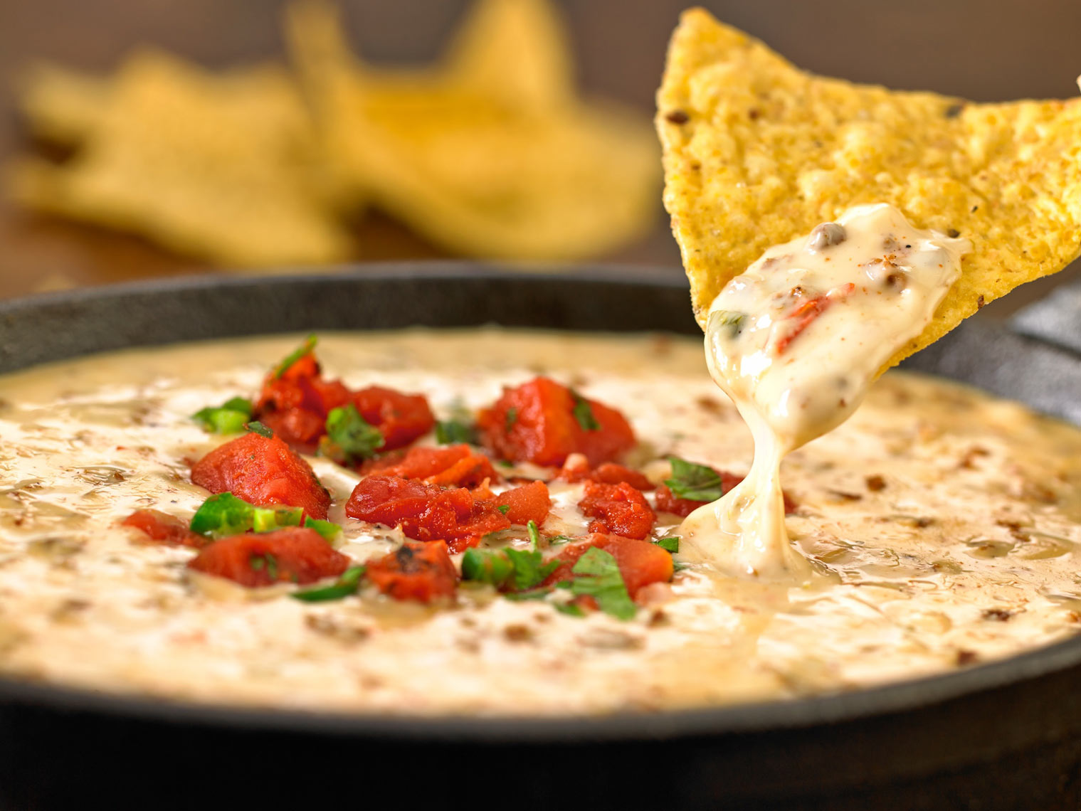 White queso/corn tortilla chip/dipping/food photography