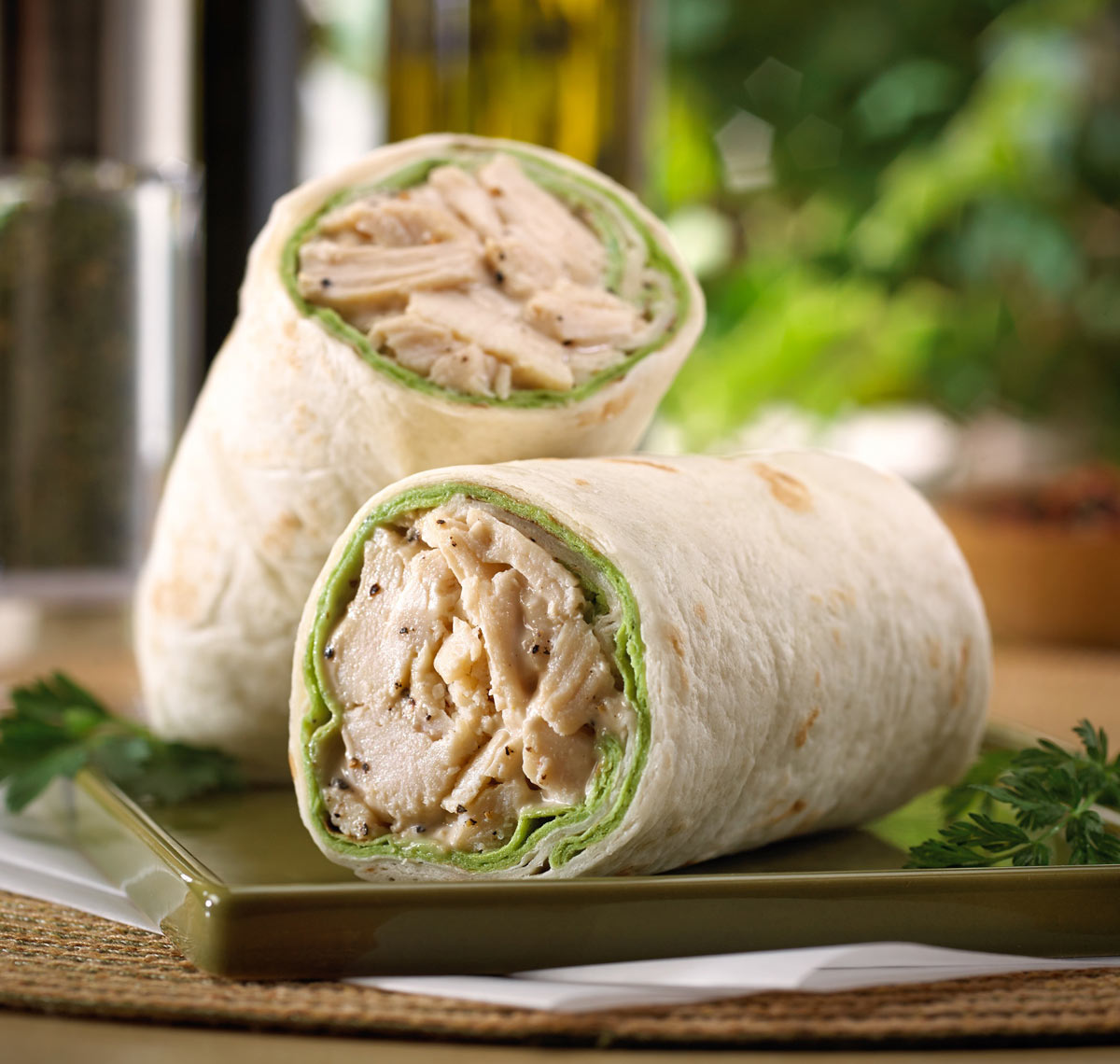 Chicken Caesar Wrap/green serving plate/food photography