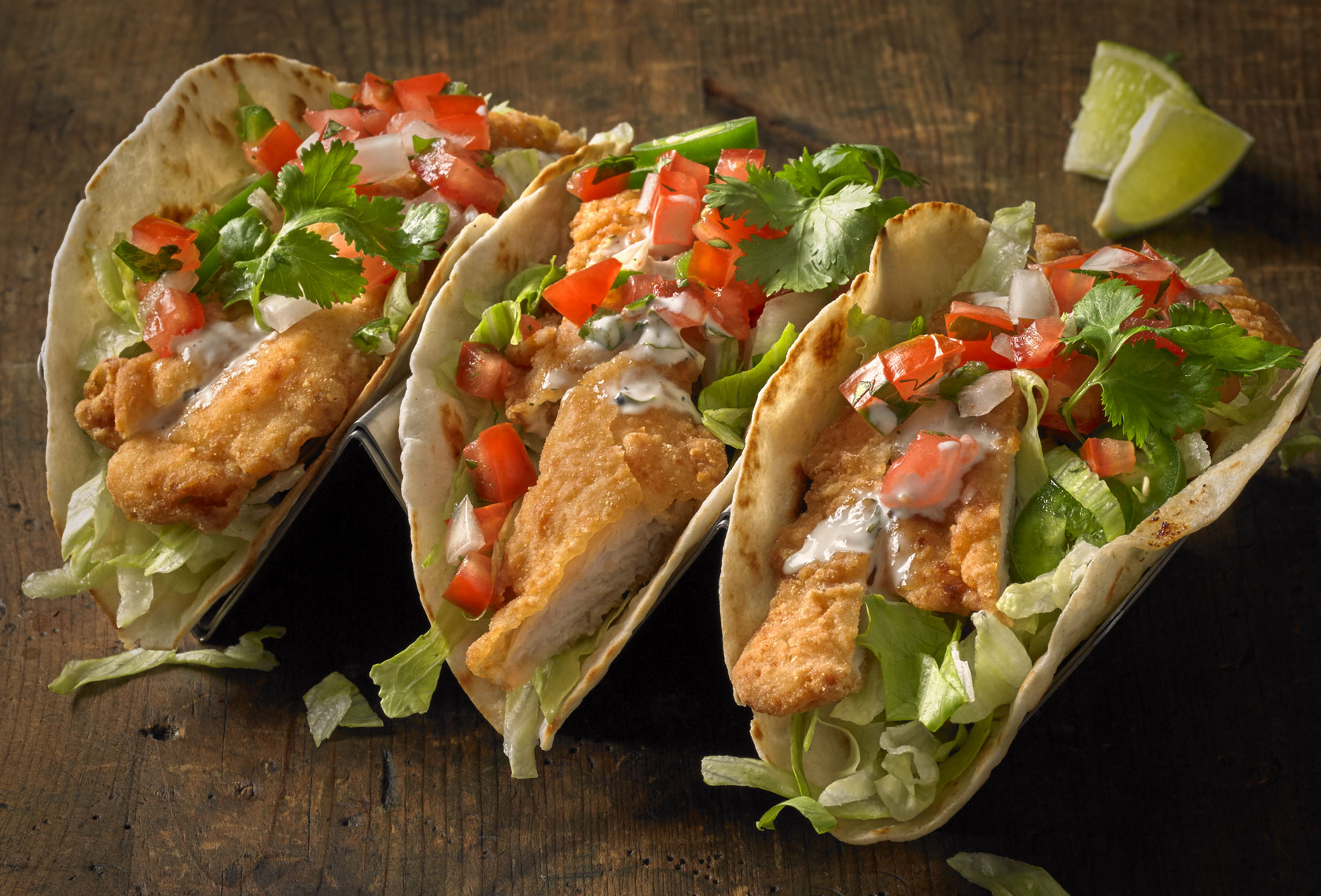 3 Soft shell chicken tacos/holder/barnwood/food photography