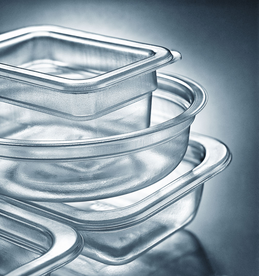 clear glass/ baking dishes/blue bkgd/product photography