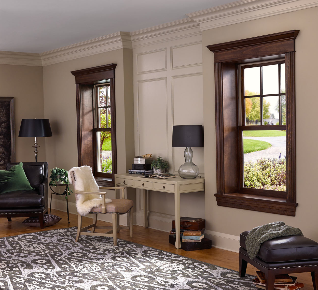 Colonial living room/two windows/Marvin Window/studio set photography