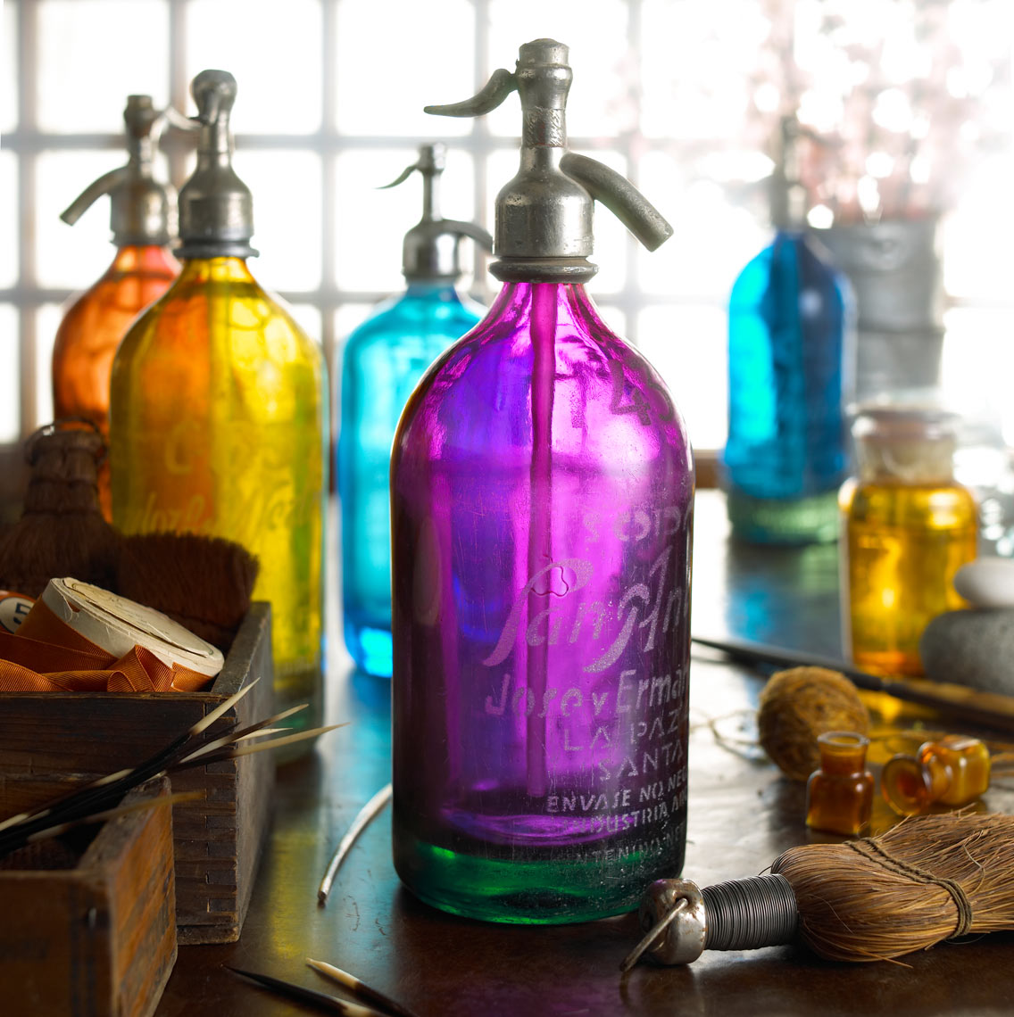 Colored charged water bottles/product photography