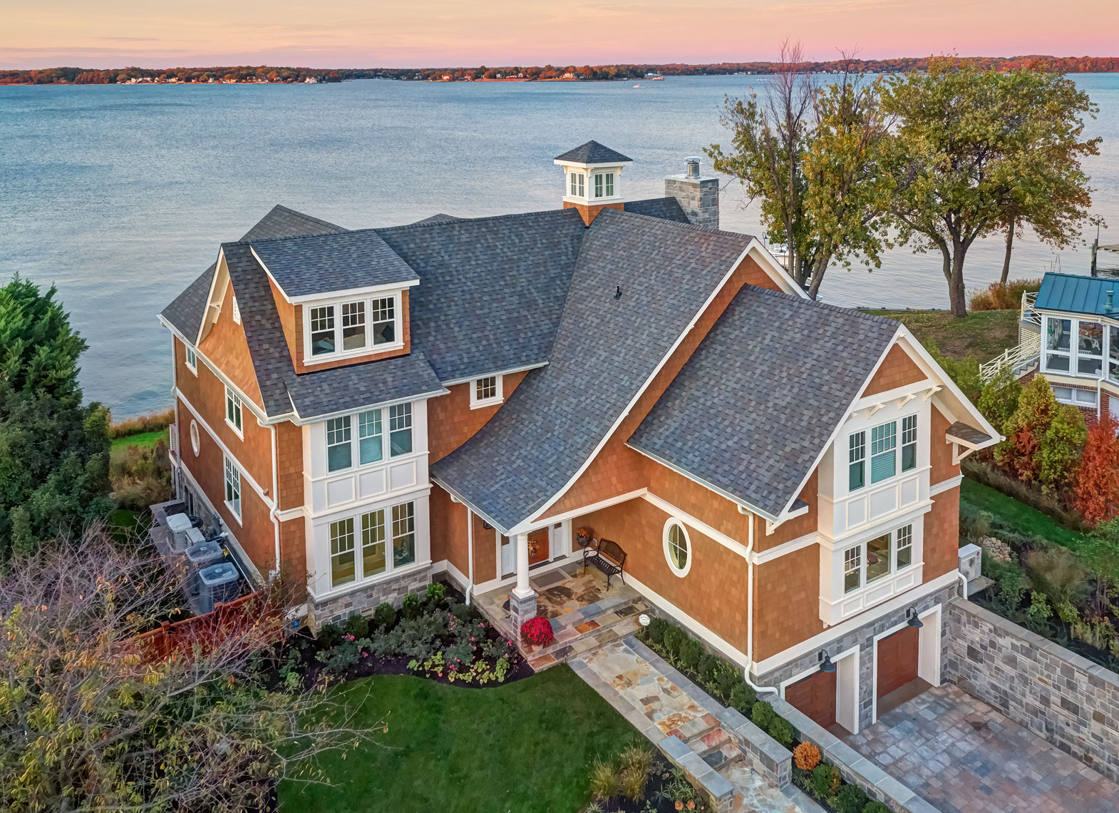 Lakeshore home/Weather Shield windows/arial drone photography