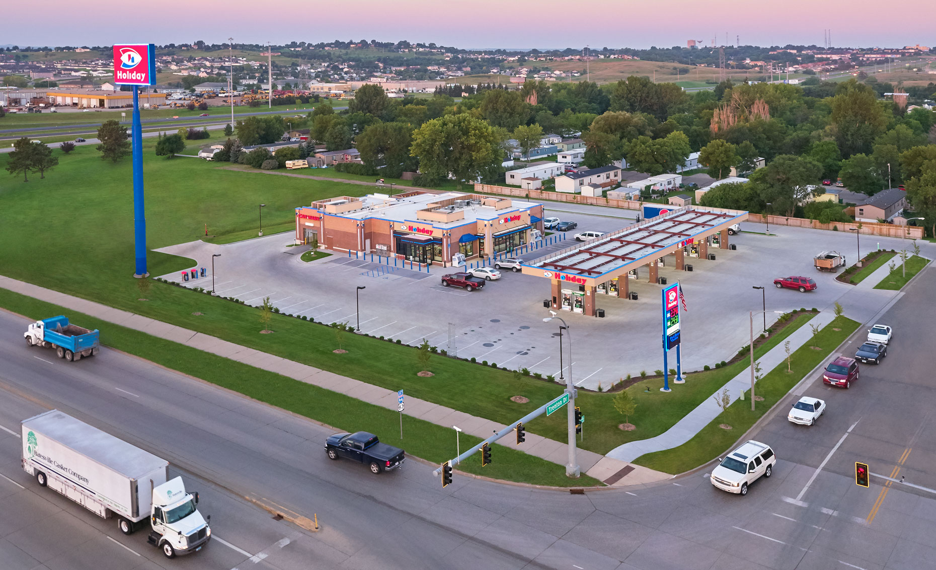 Holiday gas station/sunset/arial drone photography