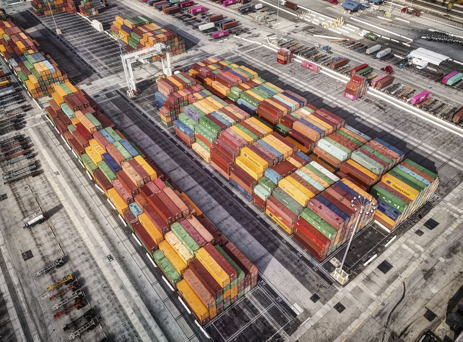 Containers in staging area/shipping/industrial drone photography