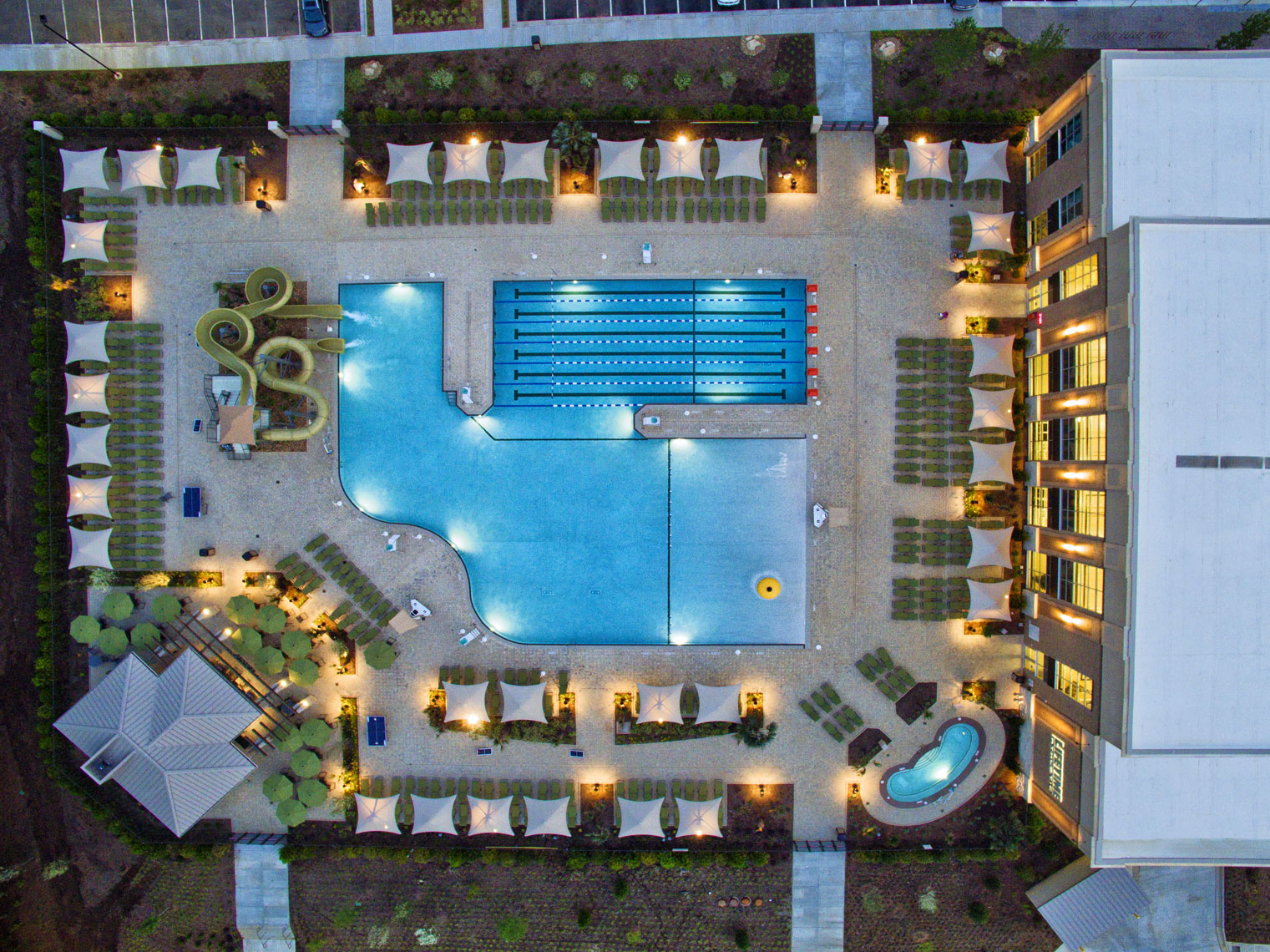 Lifetime Fitness pools/twighlight/arial drone photography