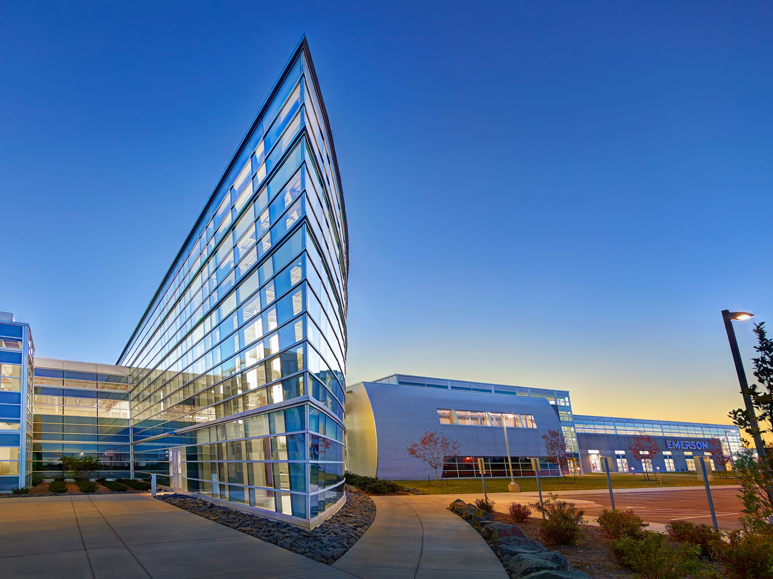 Emerson Corp./The large angled glass entry/architectural photo
