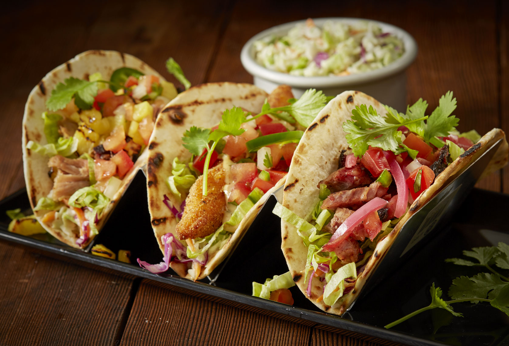 Tacos/softshell/wood background/food photography