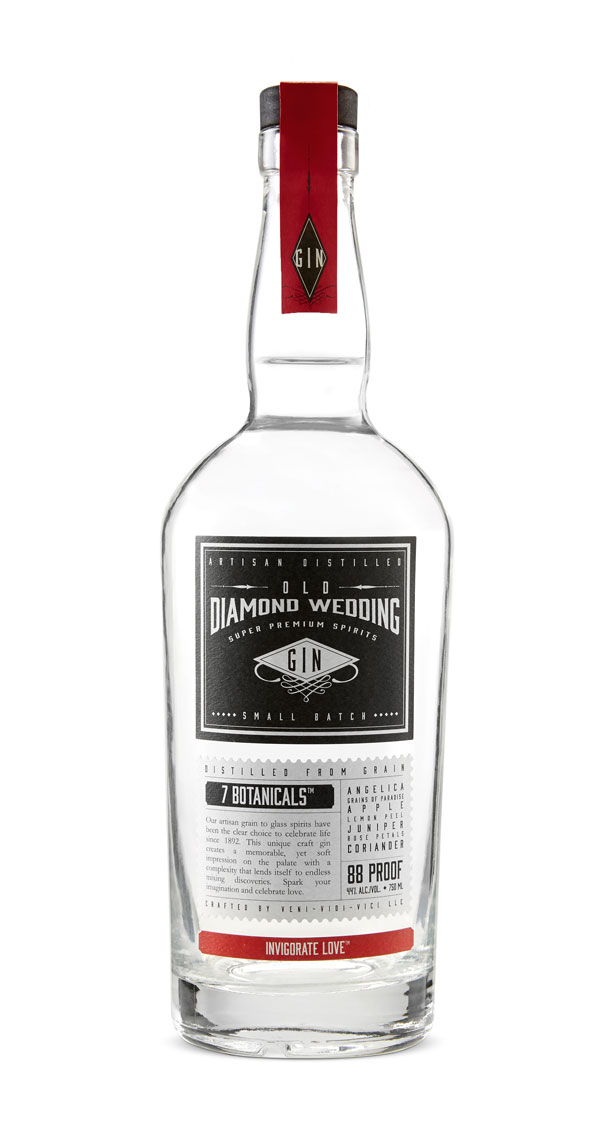 Old Diamond Wedding Gin.  Bottle on white, black front label, red top label