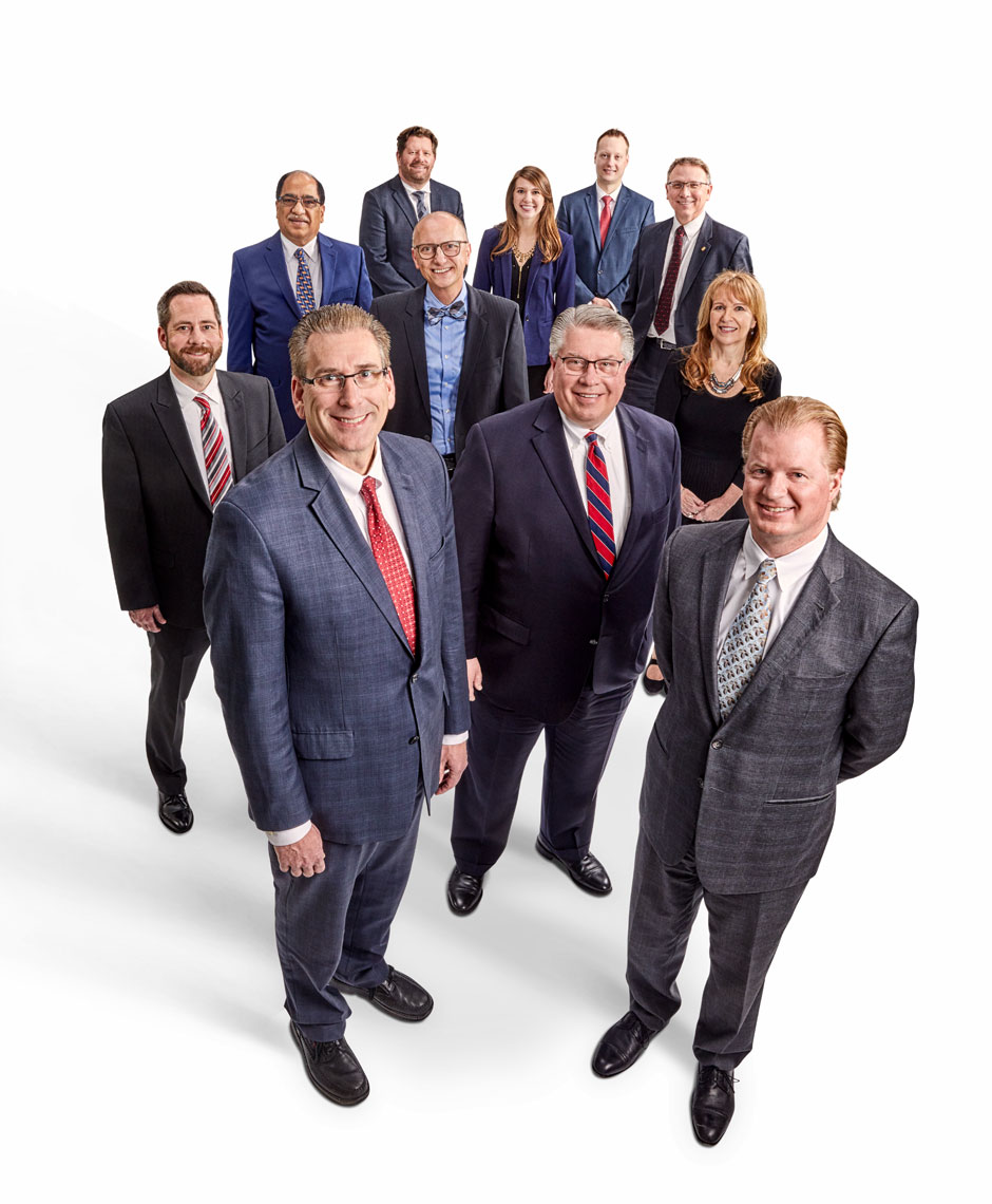 Execs/big group/wide,high angle/on white/business portrait photo