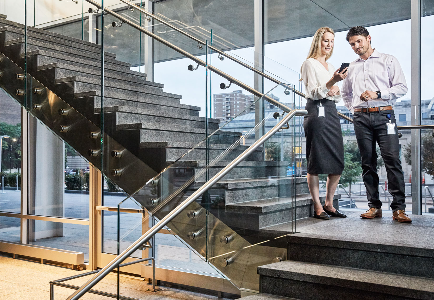 business lobby/man woman/stairs/business photography