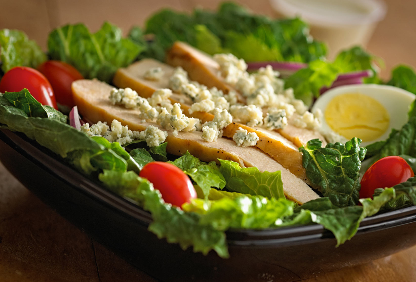 Chicken salad/blue cheese crumbles/egg/onions/food photography