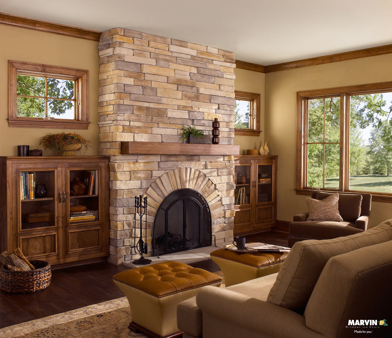 Stone fireplace/Marvin Windows/2 small 1lg window/studio/set photography