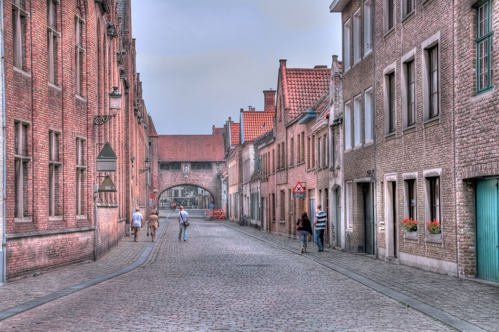 Cobblestone street/old brick buildings/Bruges Belgium/location photography