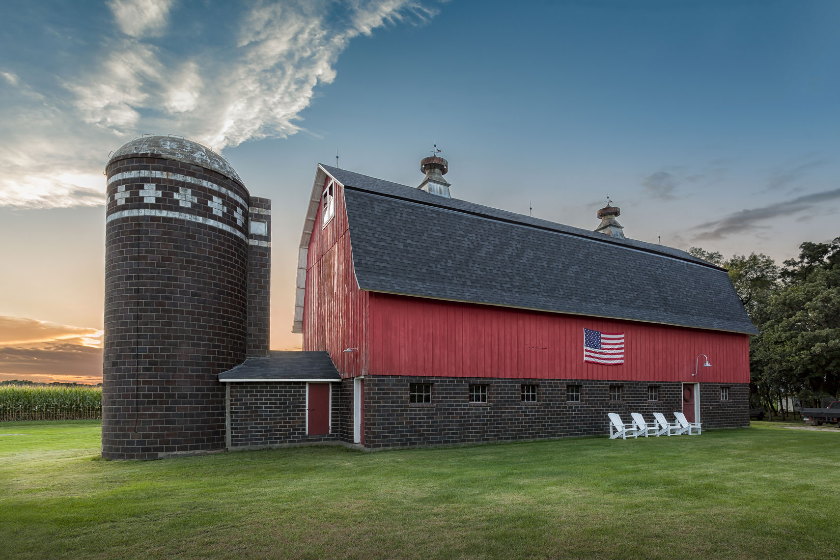 Red Barn/American Flag/silo/green grass/sunset/agriculture photography