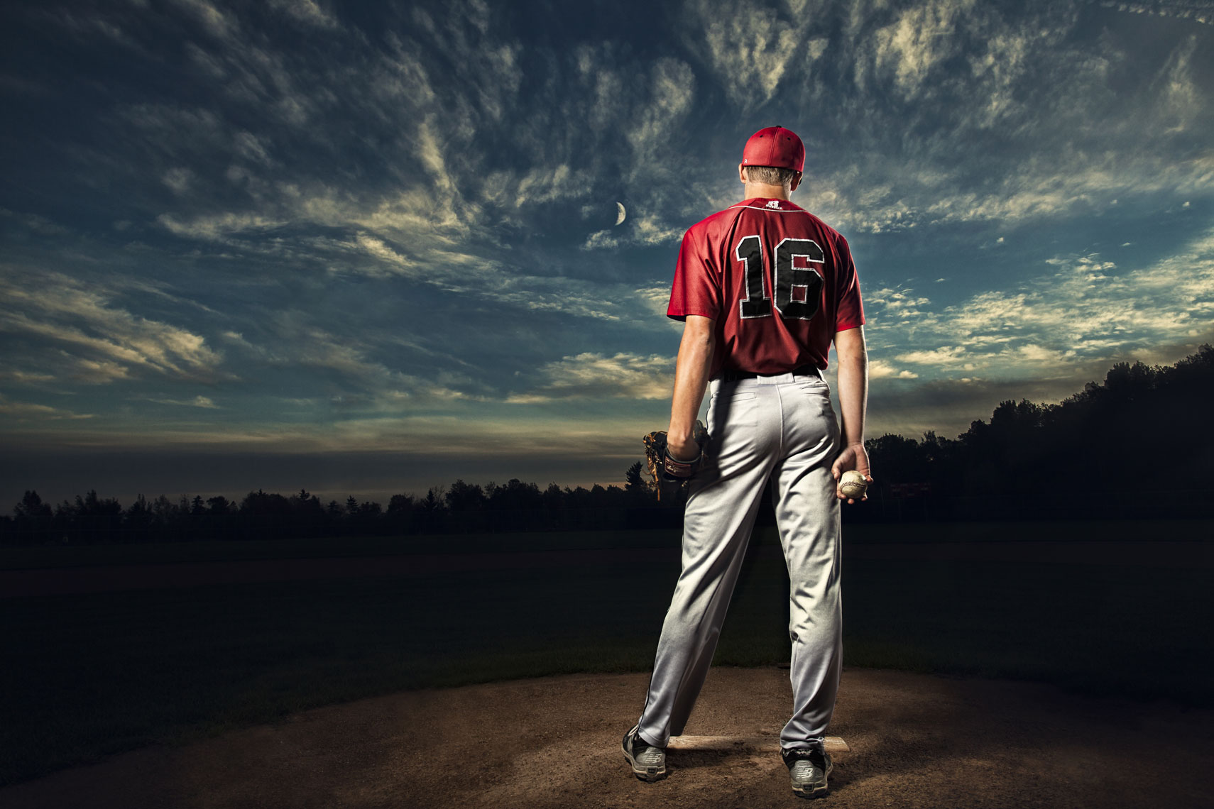 Baseball pitcher/backside/sunset/lifestyle photography