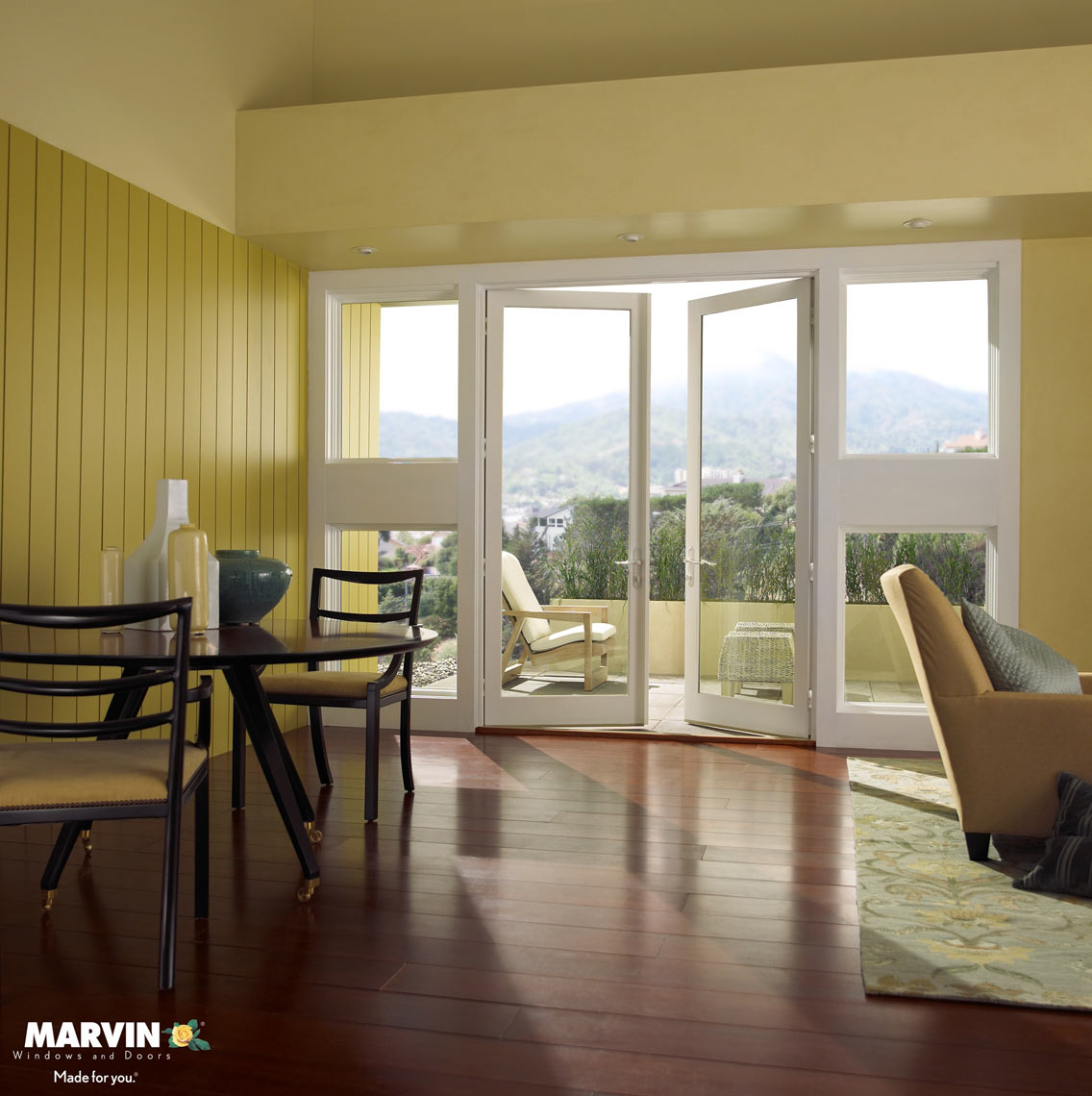 White french doors/int/San Diego/Marvin Windows/studio set photography