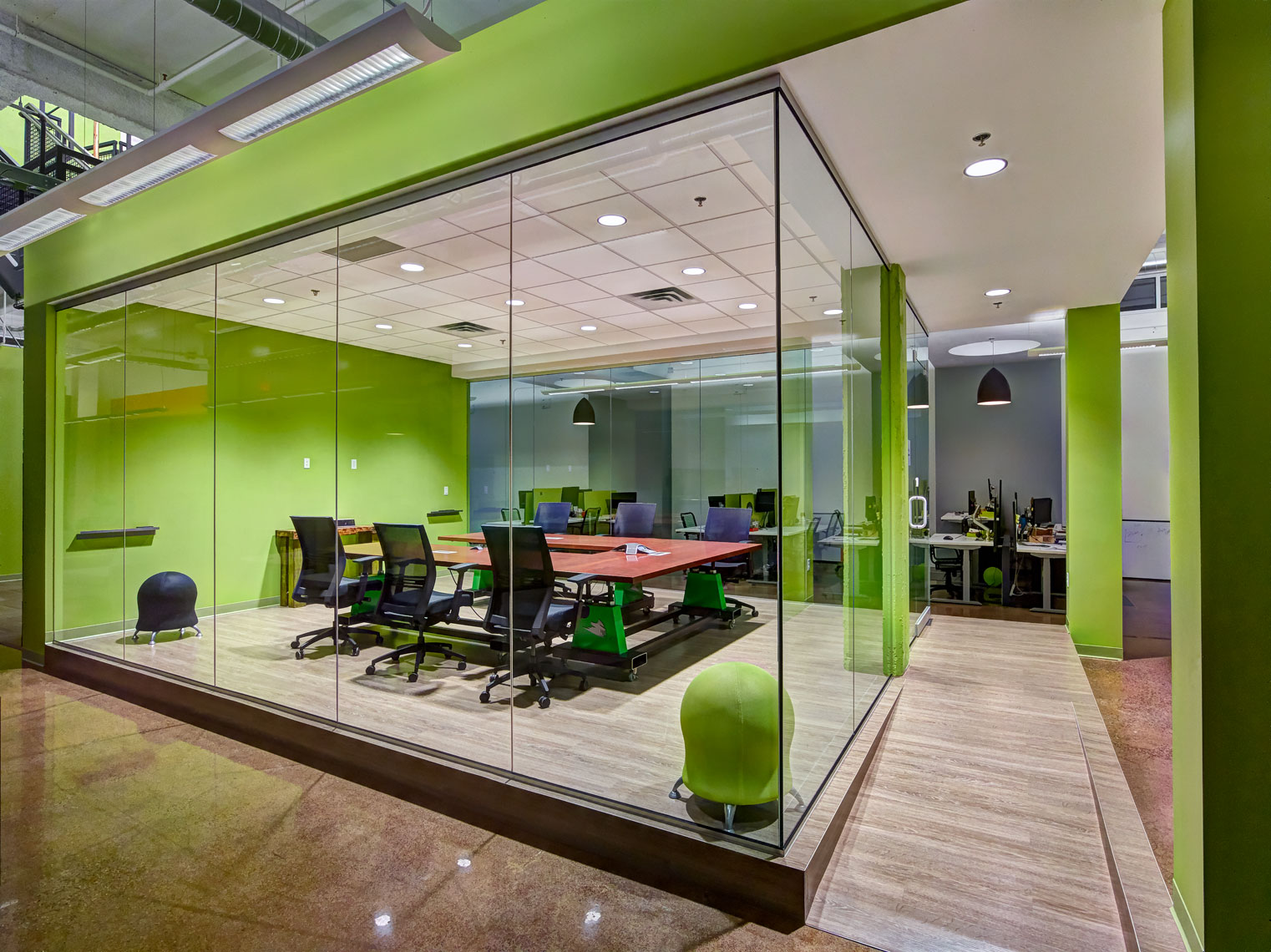 Green glass walled conference room/architectural photo