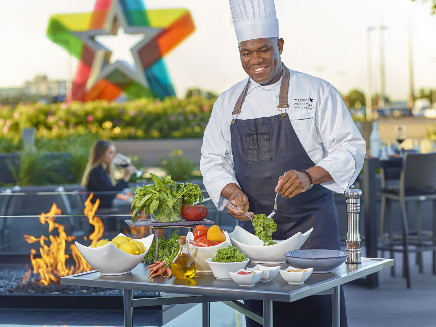 J-W-Marriott/chef/preparing salad/outside/grill/lifestyle photo