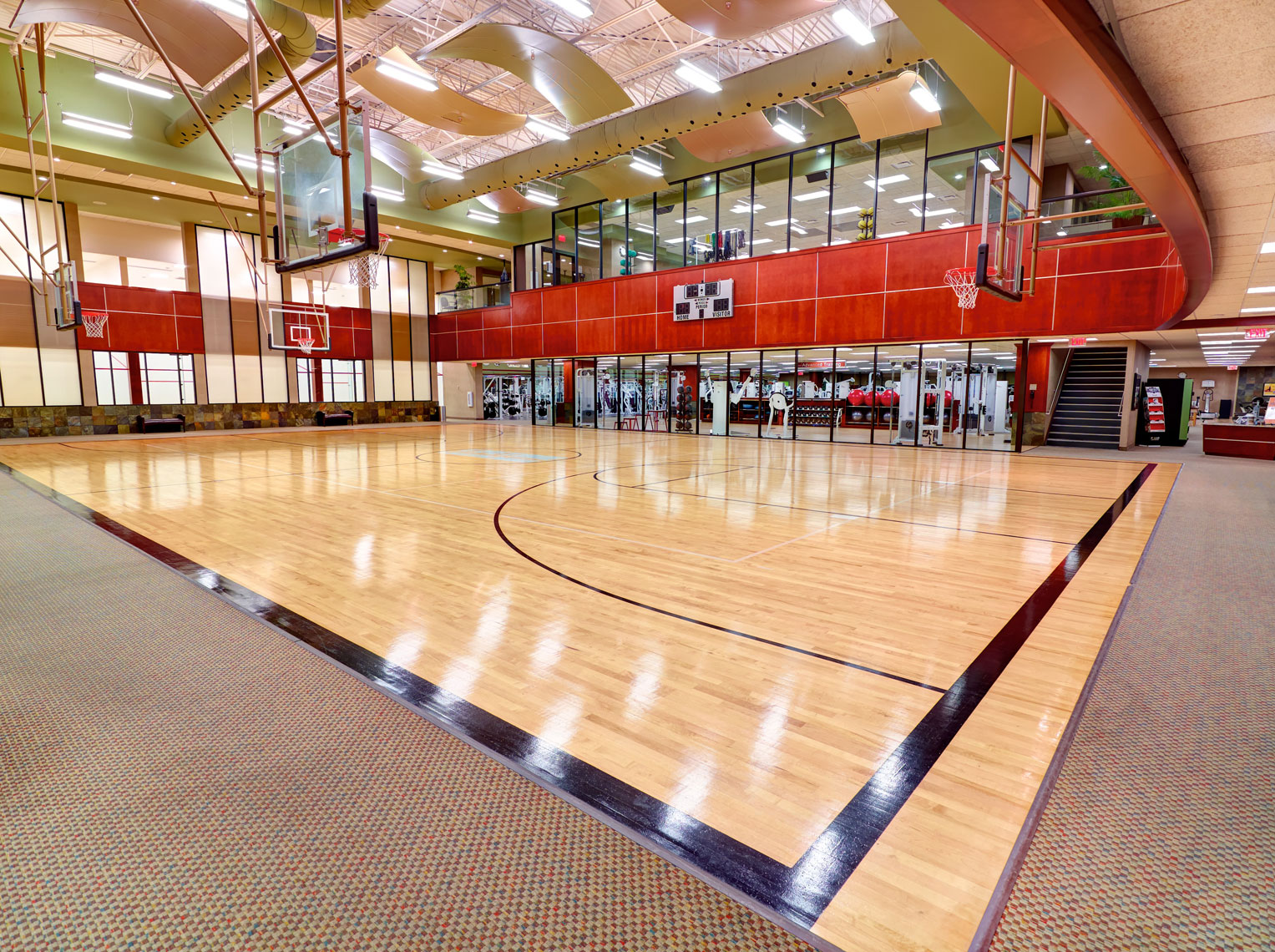 Life Time Fitness indoor basketball court/architectural photo