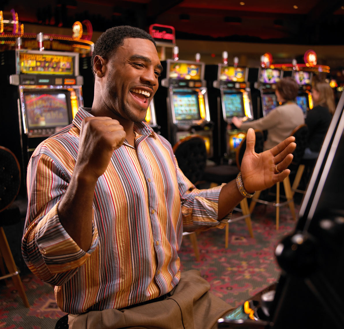 Black man/slot machine/casino/lifestyle photo