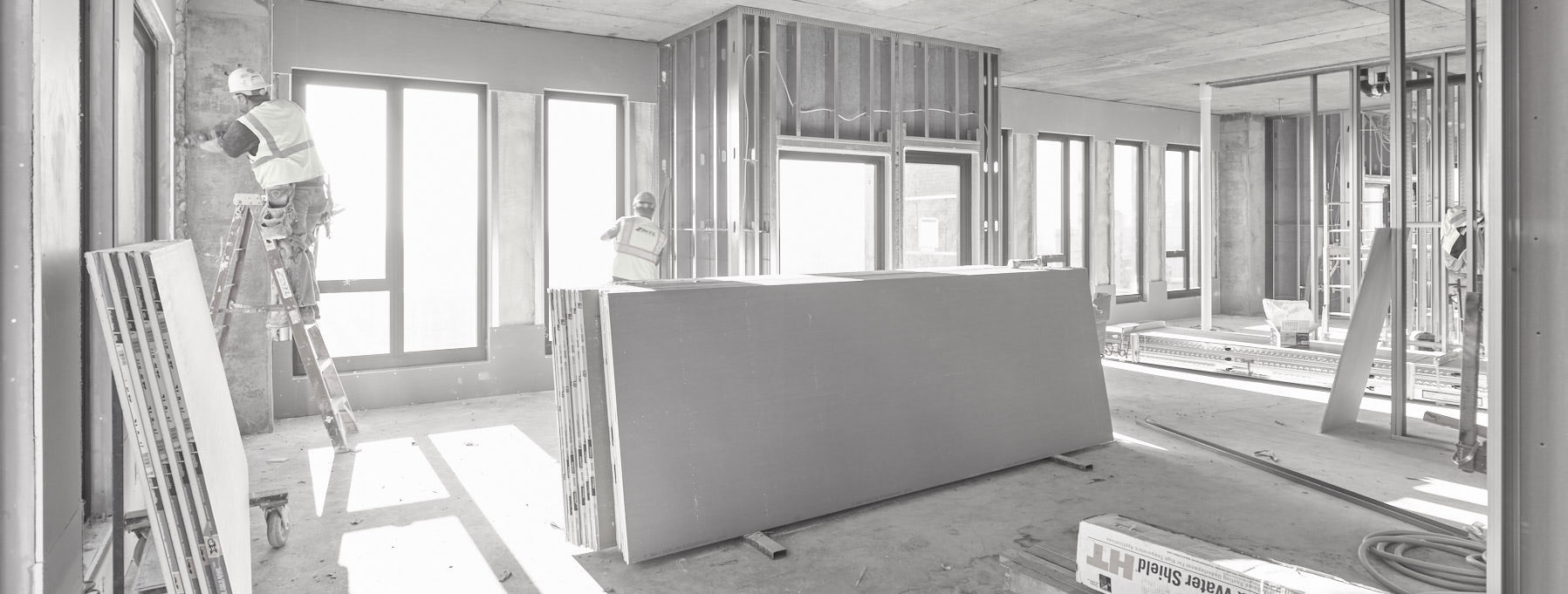 under construction/interior/b&w/Mortenson/architectural photography