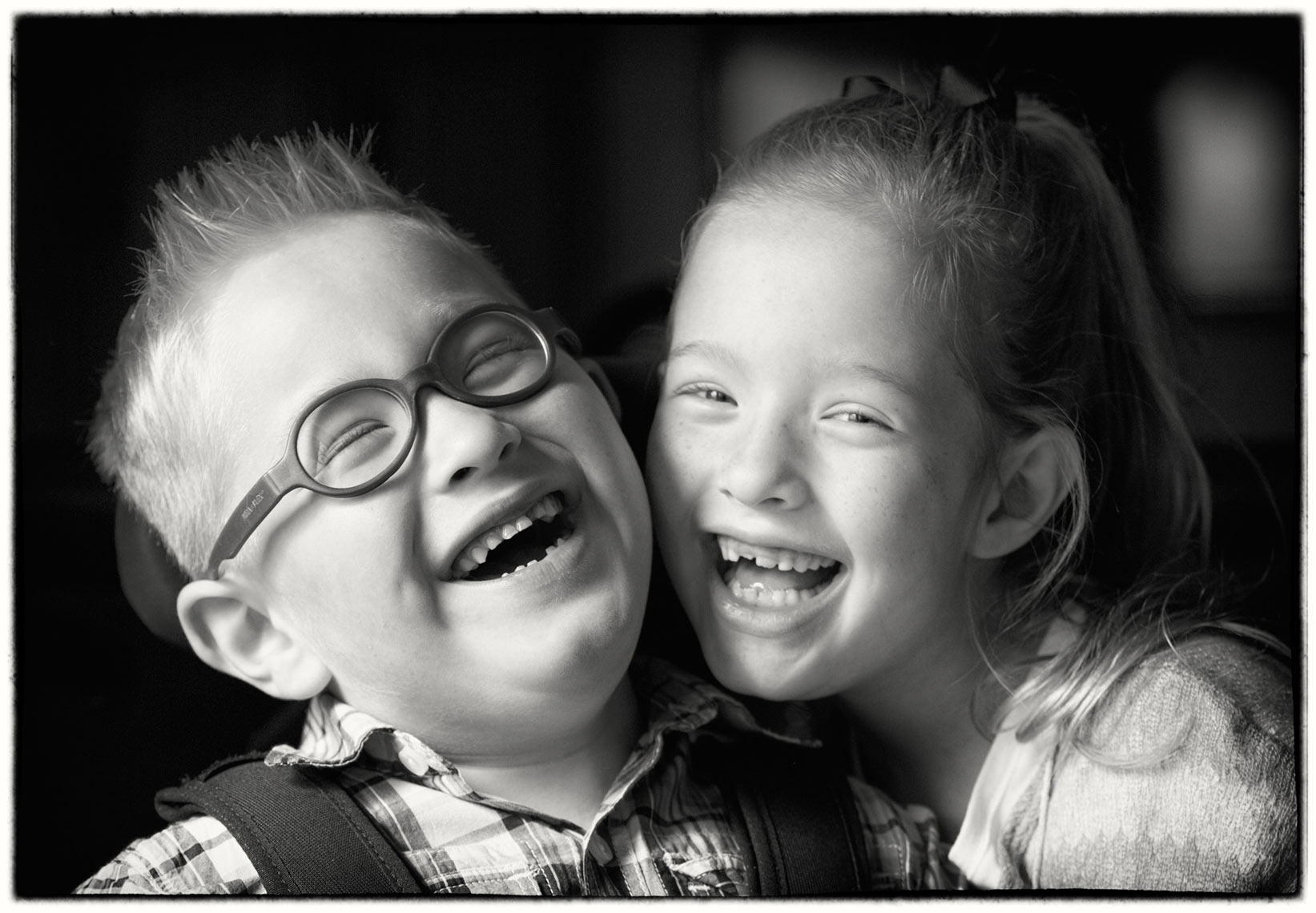 Speacial needs kids/b&w/laughing/lifestyle photo