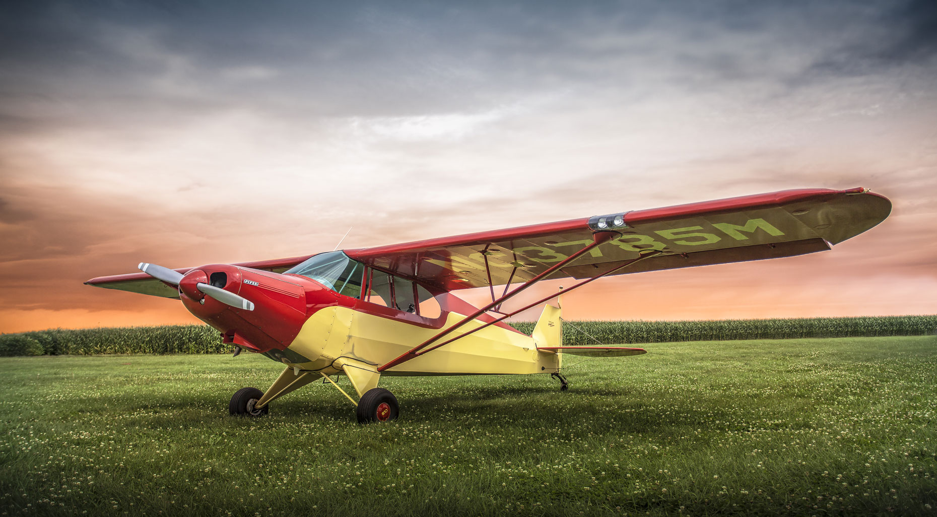 Plane/red yellow/grassy field/red blue sunset/aviation photography