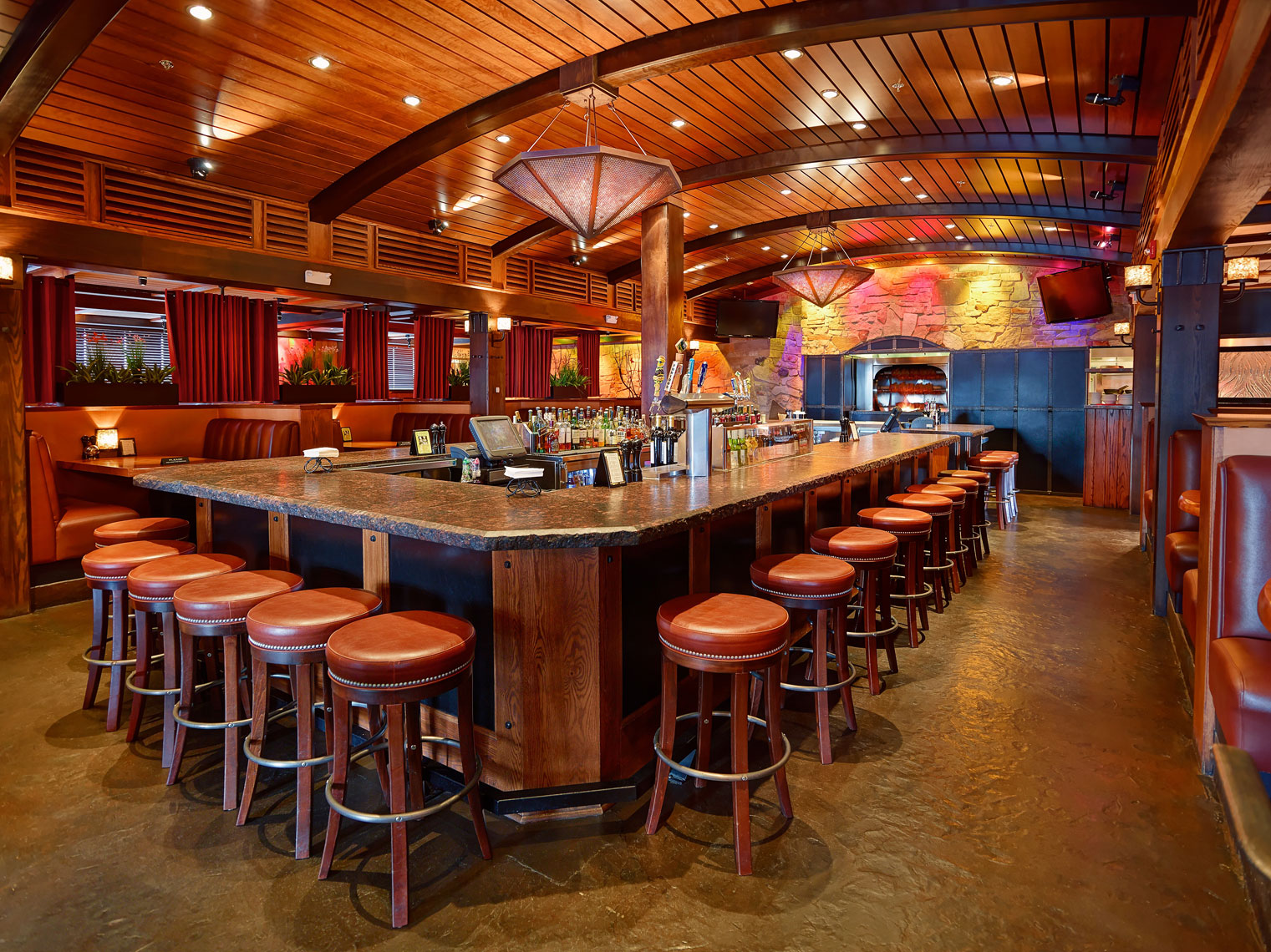 Red Stone Restaurant/central bar with stools/architectural photo