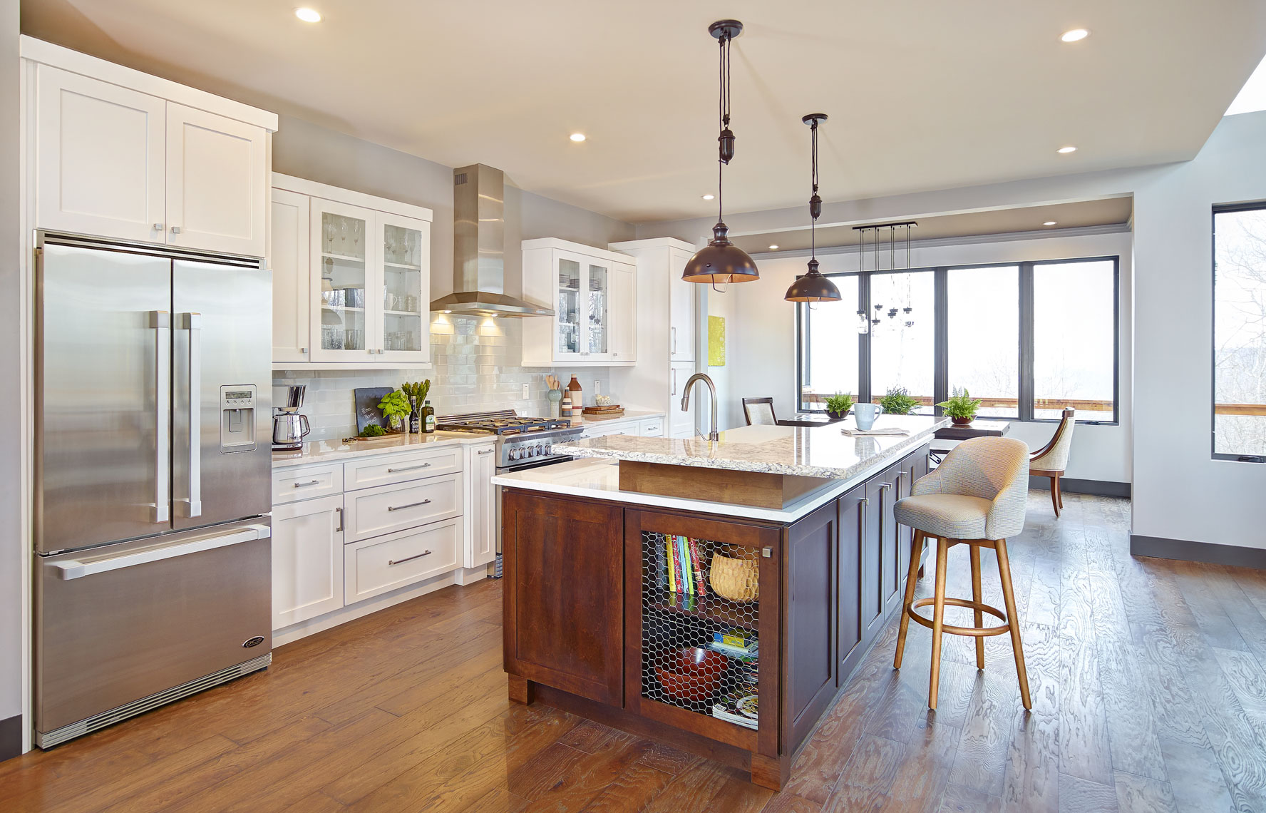 Residential kitchen interior/white cabinets/architectural photo