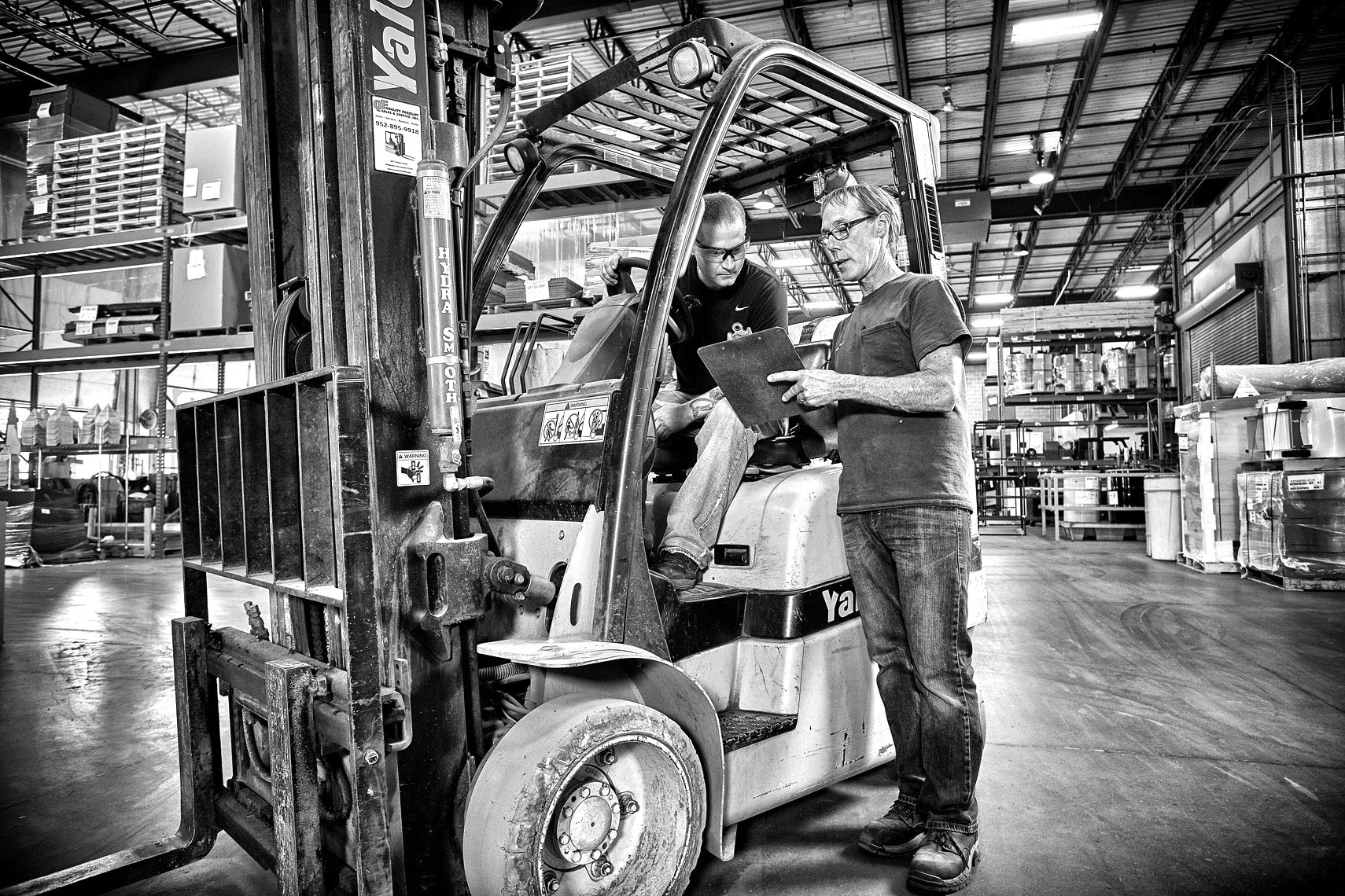 Tempair/forklift/b&w/warehouse/lifestyle photo/InsideOut Studios