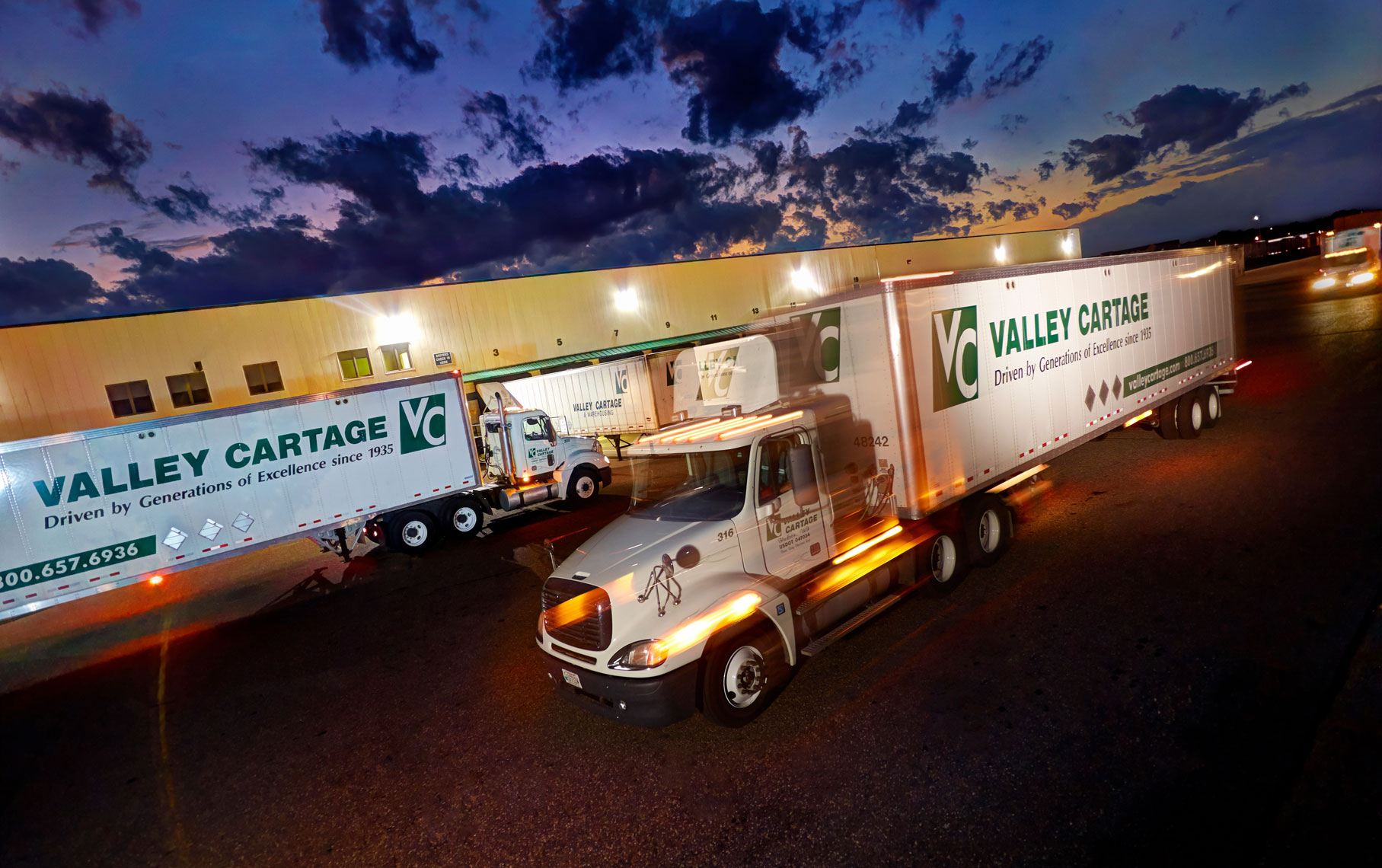 Valley Cartage freight trucks/motion blur/location photography