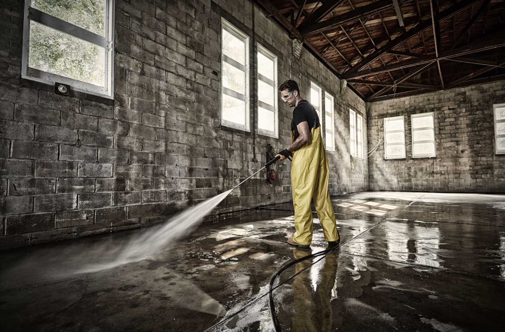 Man power washing/Veloci/brick interior/lifestyle photo