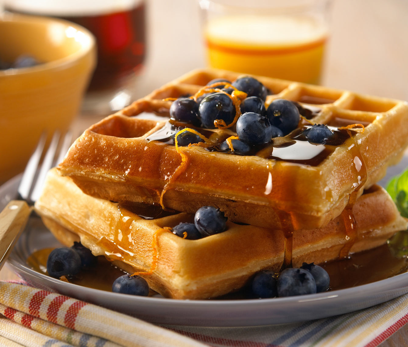 Waffles/blueberries/syrup/food photography