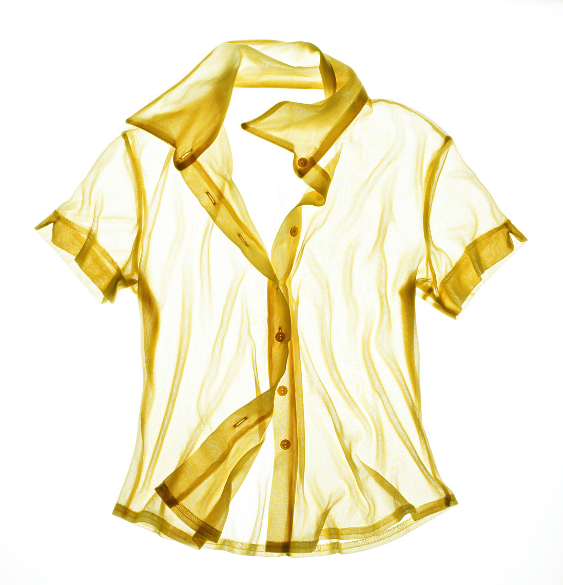 Yellow translucent shirt/underlit/product photography