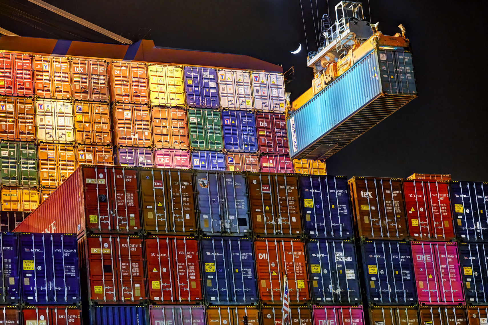 Container ship/colorfull containers/crane loading/Industrial photography