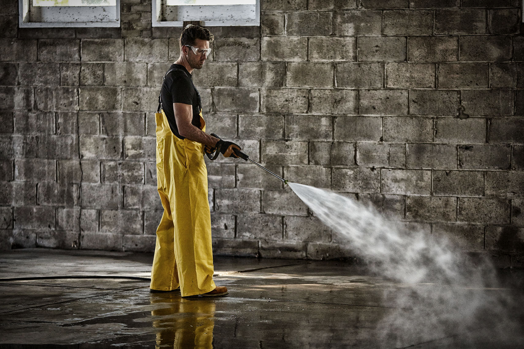powerwasher/man/brick wall/lifestyle photography