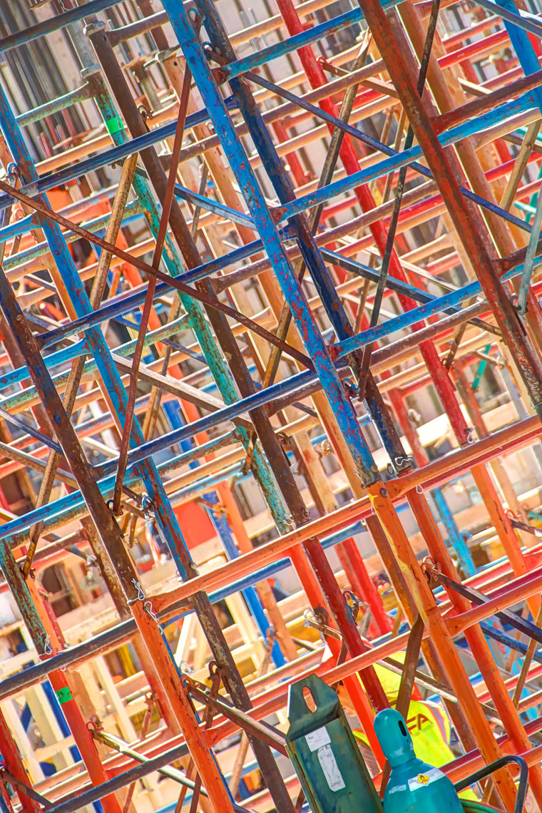 Scafolding/colorful/downtown/locaton photography