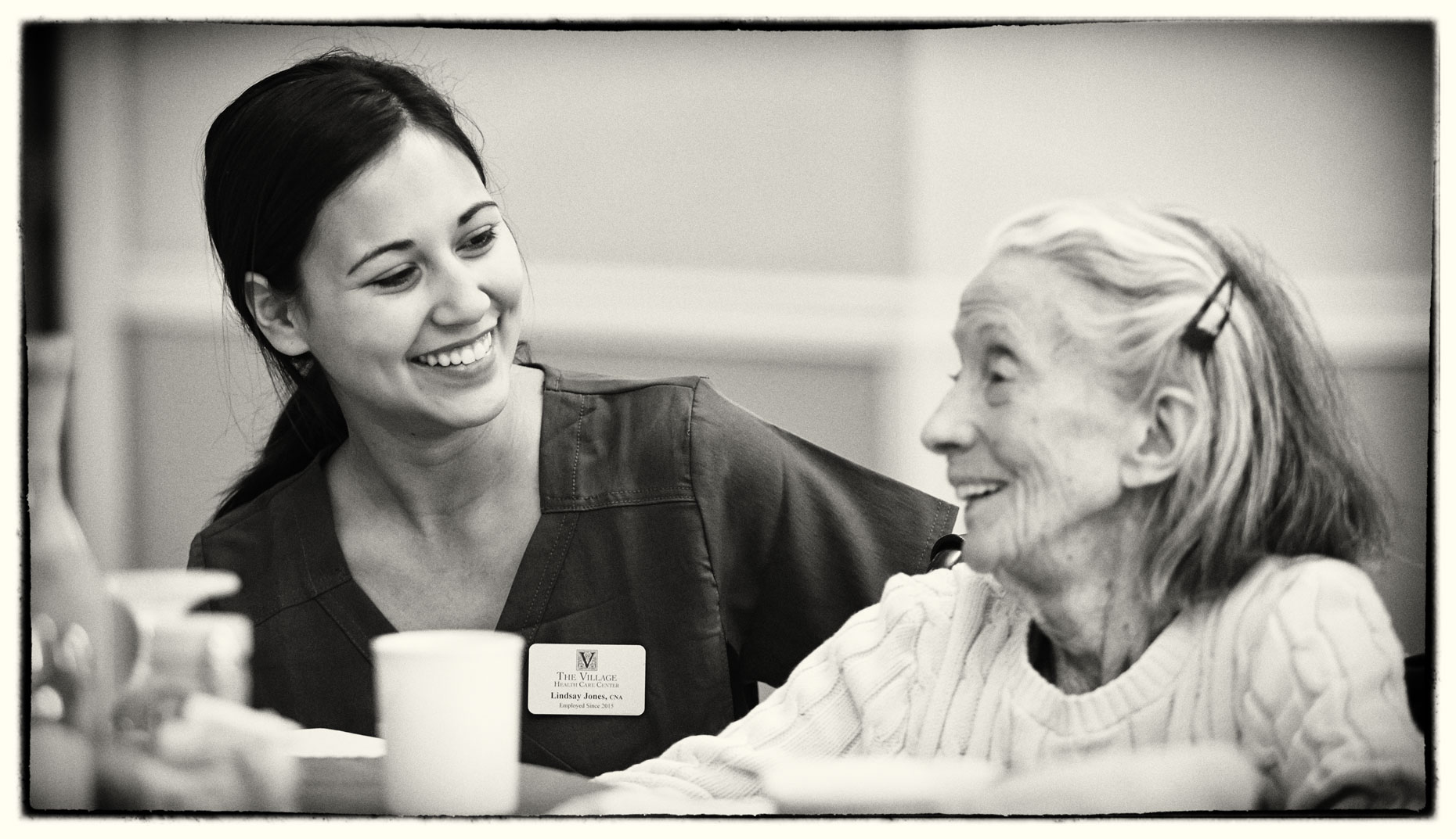 Healthcare worker/Senior woman/care facility/lifestyle photo