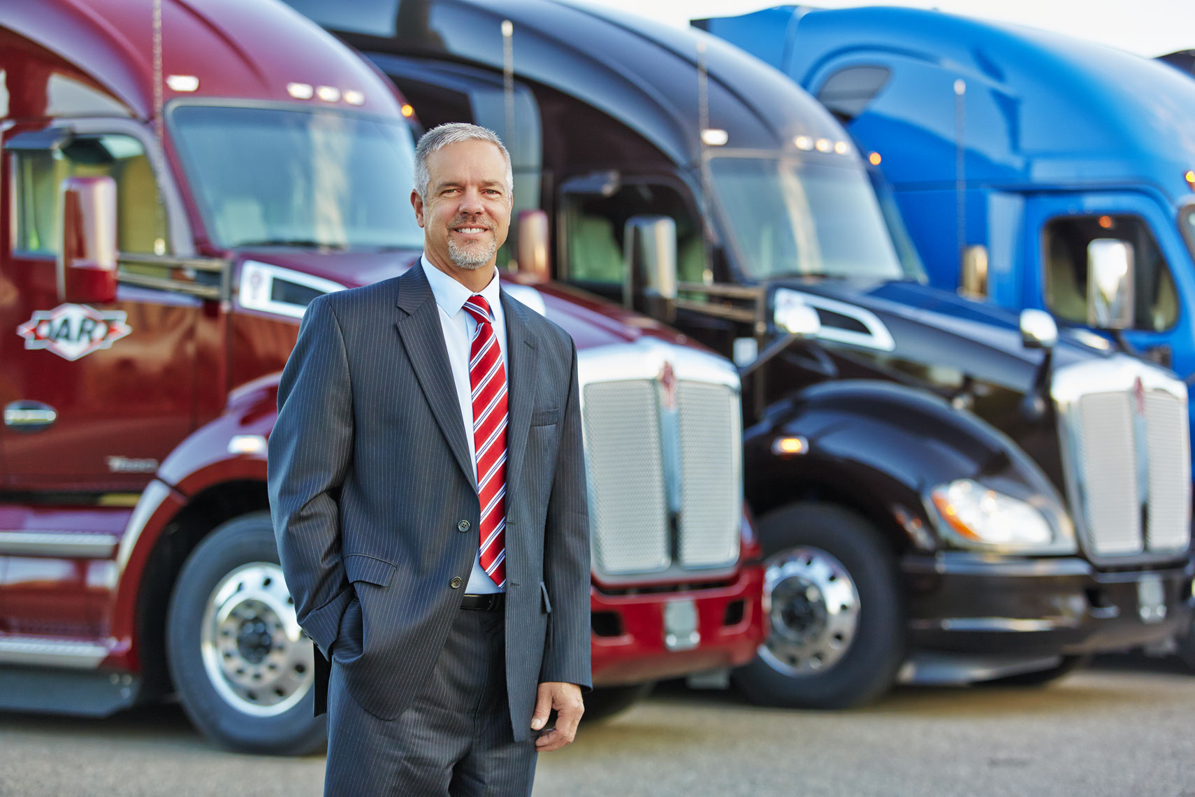 Business exec/colorfull semi trucks/business location photography