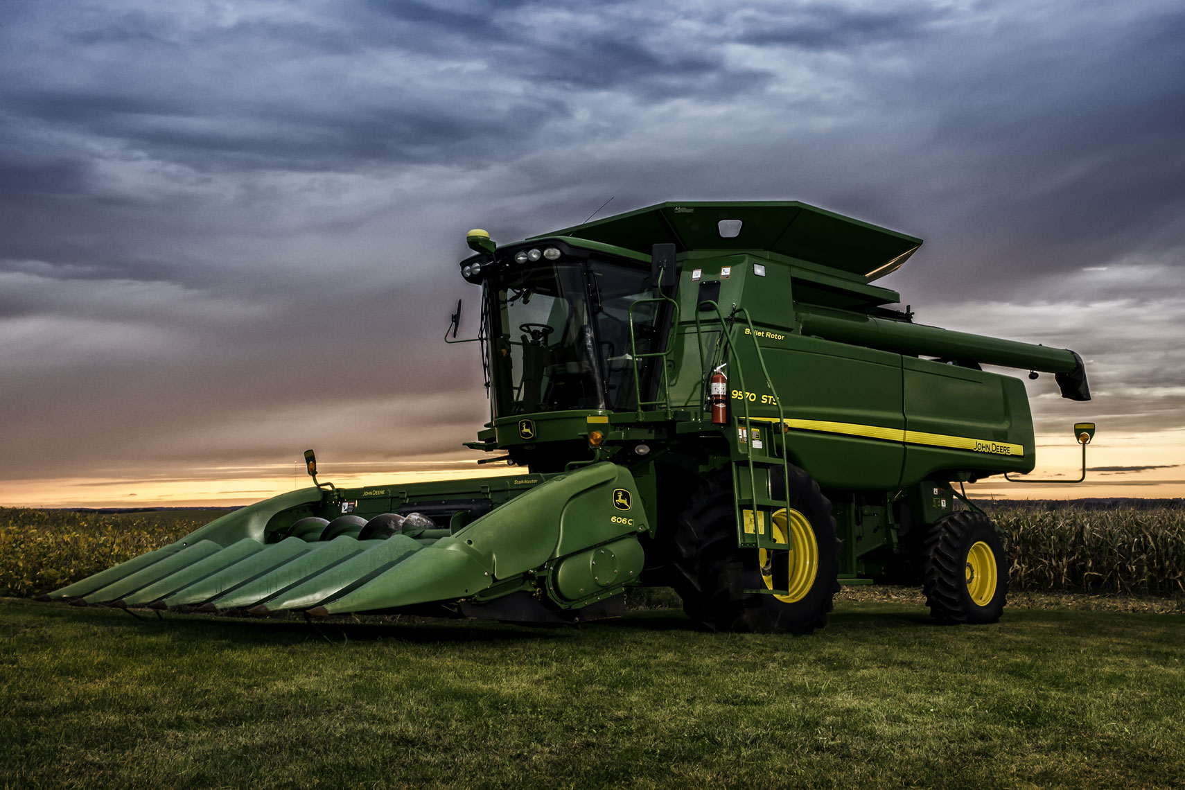 Big John Deer/harvesting/sunset/corn field/agriculture photography