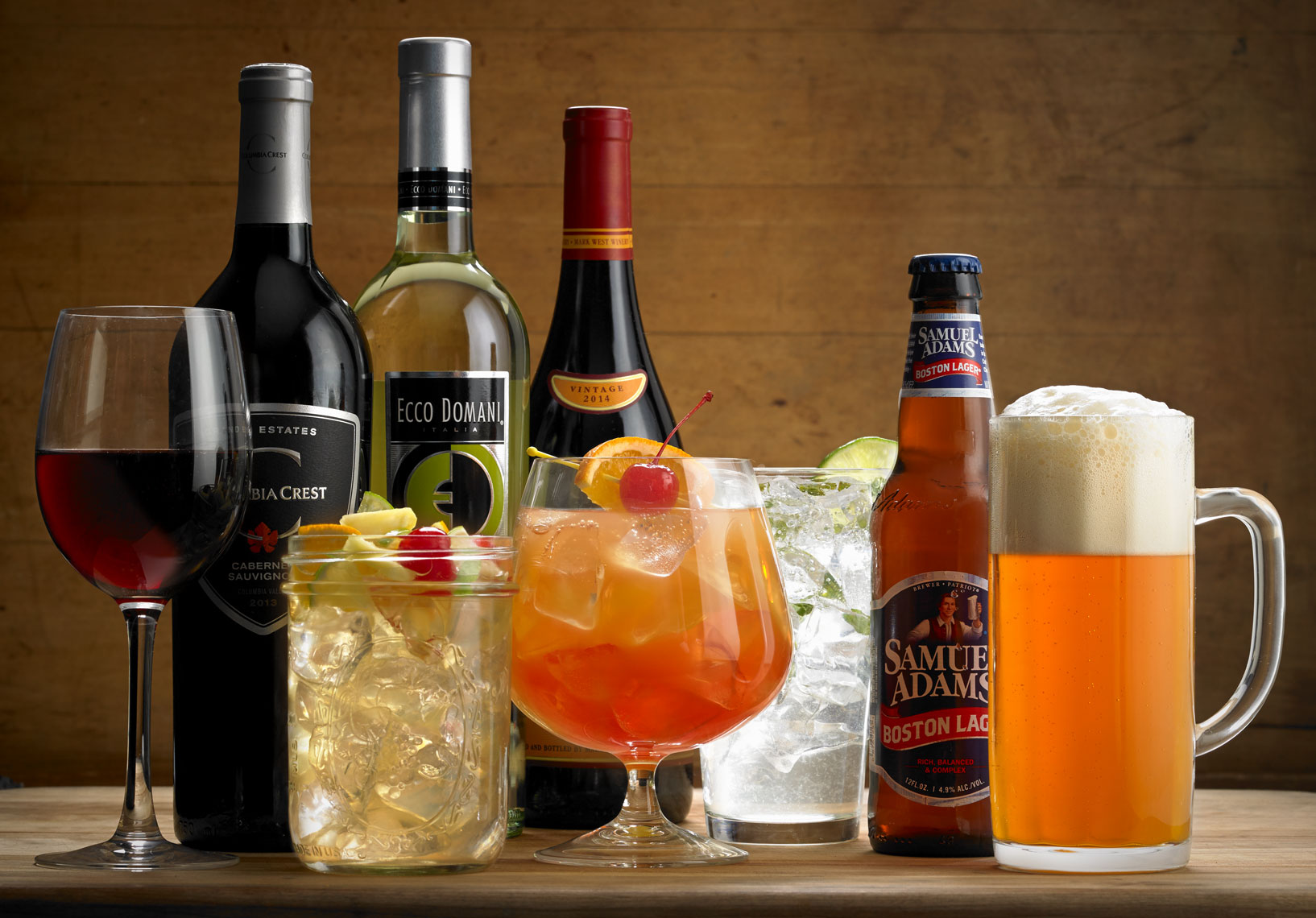 Mixed drinks, wine, and beer, various alcoholic restaurant offerings.  Food photography, InsideOut Studios.