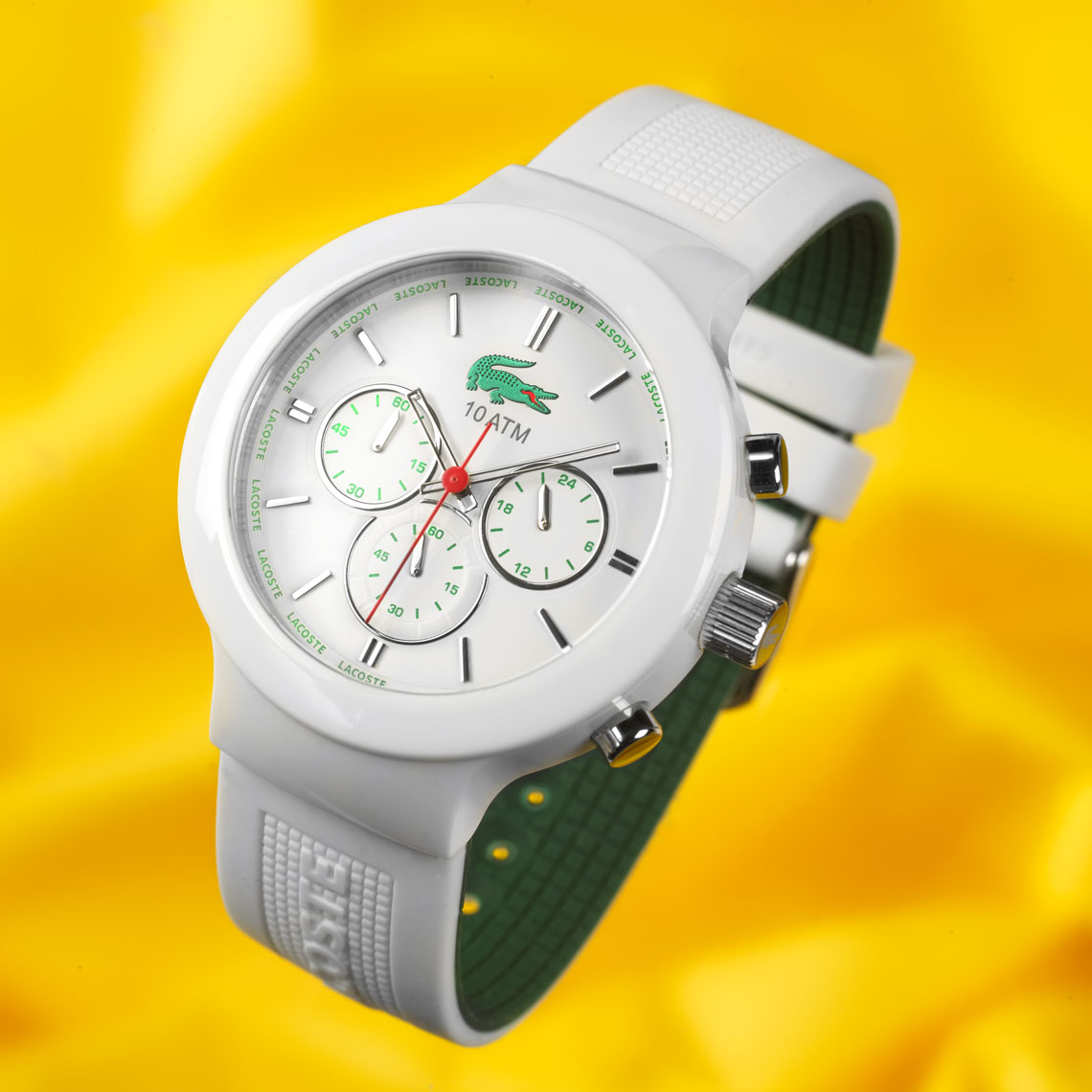 White Lacosite watch/product photography